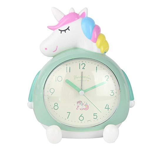 Topdo - Reloj Despertador de Unicornio con diseño de mañana para Estudiantes, Adolescentes, Cama de mesilla silenciosa, Despertador clásico para sueño, Oficina, Viaje, Oficina, 18 x 11 x 14 cm