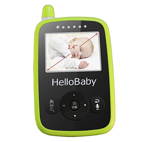 HelloBaby HB24 2.4″ Digital Funk TFT LCD Drahtlos Babyphone Wireless Video Kamera Baby Monitor Babyviewer Überwachung Nachtsicht + Temperatursensor EU Plug(Weiß&Grün)