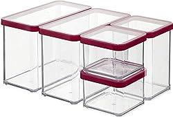 Rotho Premium Loft 5er Set Vorratsdosen , Kunststoff (BPA-frei), transparent/rot, verschiedene Größen