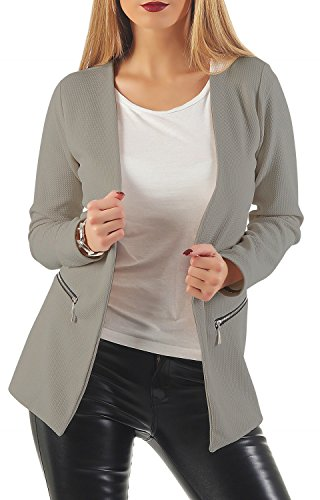 Damen lang Blazer mit Taschen ( 501 ), Farbe:Grau, Blazer 1:36 / S