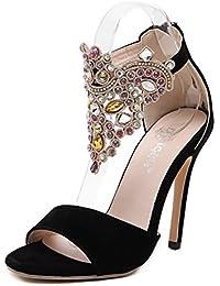 ZWME Mujeres Peep Toe Strap Rhinestone Stiletto Ladies High Heel Sandalias De La Correa Del Tobillo