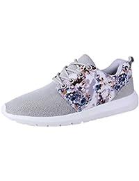 Mujer zapatos de malla floral estampado,Sonnena ❤️ Sneakers Mujeres Entrenadores Transpirable Imprimir Zapatos Casuals de flores Malla baja superior zapatos