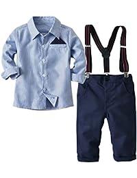 [Bekleidungsset Junge Kinder] Hemd + Hose mit Träger Baumwolle Kleinkind Gentleman Anzug Frühling Herbst Blau