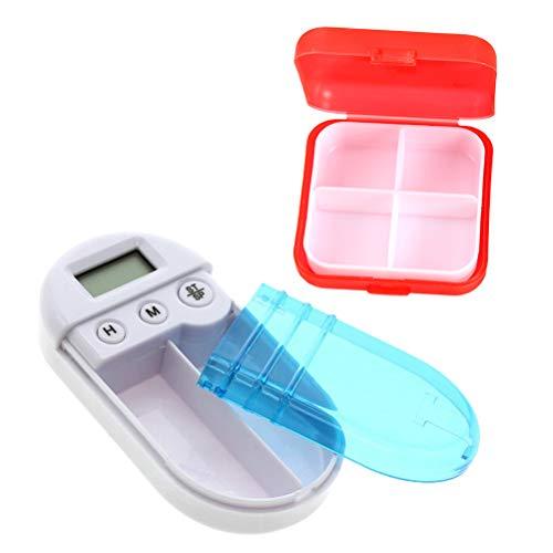 Vosarea 2PCS Mini Elektronischer Medikamentenbox mit Wecker Pillenbox Medikamenten Erinnerung Pillen Erinnerung Medikamentenbehälter - Storage-komponenten