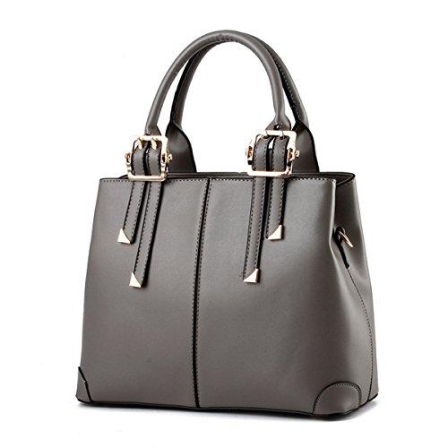 La Desire PU Leather Simple Shoulder Bag Europe Style Handbag (Grey)(Grey)