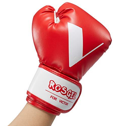 rosgel Kinder Boxhandschuhe für Kinder, Junior-Training, Boxhandschuhe, Jugend-Boxen, Kickboxen, Muay Thai, MMA-Handschuhe, für Kinder von 3-7 Jahren