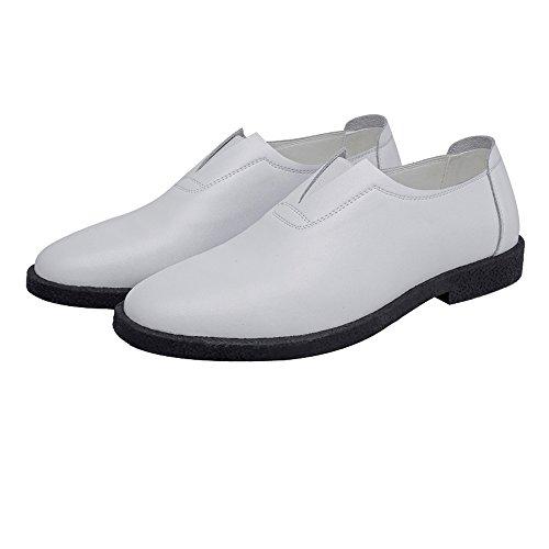 S.Y.MMYS S.Y.M Herren-Matten aus echtem Leder Schuhe Müßiggänger Slip-on Spitze Zehe gefütterte Halbschuhe (Color : Weiß, Größe : 43 EU) -