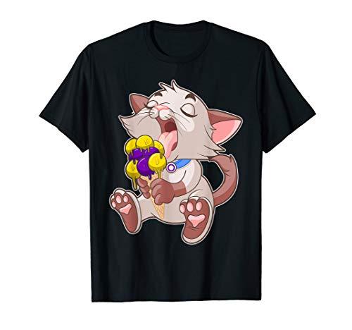 Intersex LGBTQ Ice Cream Cat Licking Cone Gay Pride T-Shirt (Cream Cone Rosa Ice)