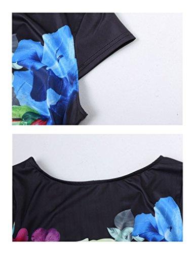 Legou Damen Bleistiftkleid Drucken Knielanges Kleid Business Kleid Schlauch Kleid Marine Blau