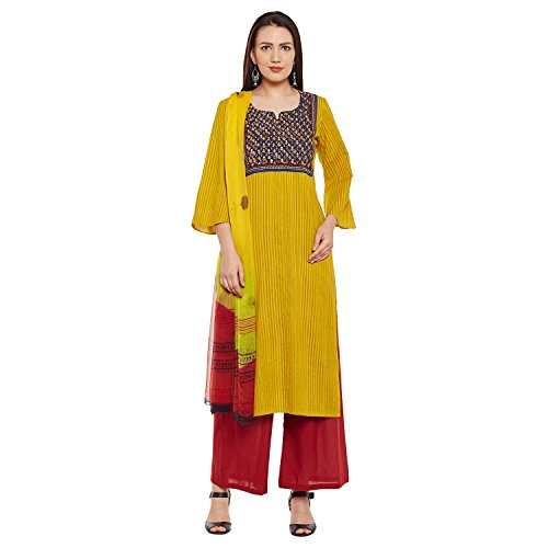 Pinkshink Mustard Block Printed And Hand Embroidered Dress Material PSD192
