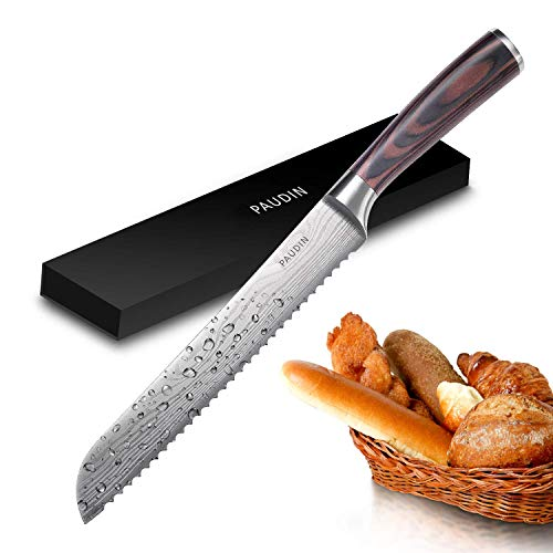 Bread Knife - PAUDIN Serrated Knife 8 inch, Sharp High Carbon German Stainless Steel Kitchen Knife with Ergonomic Pakka Wood Handle, Ideal for Cutting Homemade and Bakery Bread