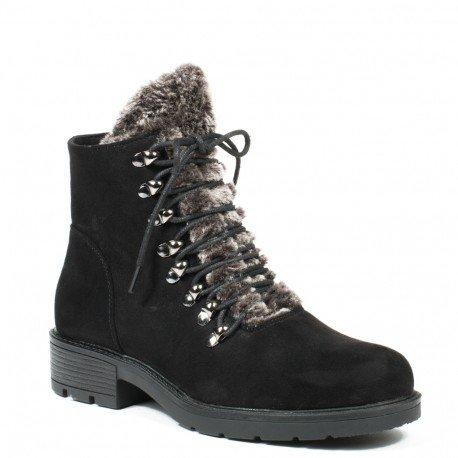 Ideal Shoes - Bottines montantes effet daim avec languette fourrure Monique Noir