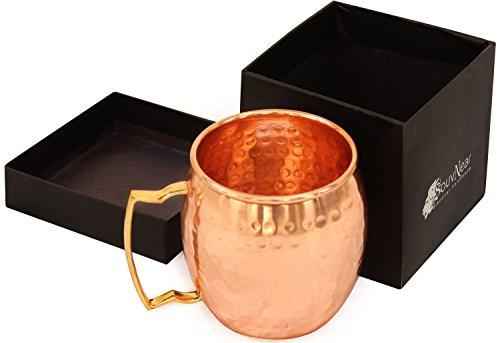 SouvNear 100% pur Mug en Cuivre pour cocktail Moscow Mule - Idéale pour toute boisson fraîche (bière, mojito, margarita, bière) - Un cadeau original pour votre famille ou vos amis ! Surprenez vos invités en leur faisant découvrir ce verre à cocktail original Bar Grand cadeau pour les dames et messieurs, 11,4 cm