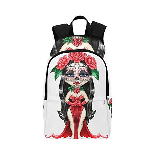 Porträt Einer schönen Mädchen-Tod-zufälligen Daypack-Reisetasche College School Backpack für Herren und ()
