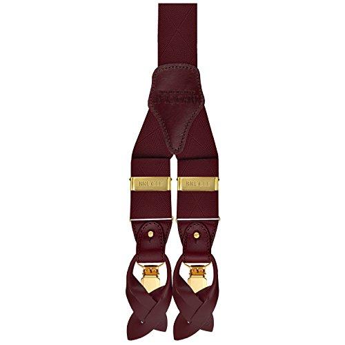 Brucle eleganti bretelle da uomo con clip dorate elastico e pelle, doppio uso clip e per bottoni, colore rosso bordeaux
