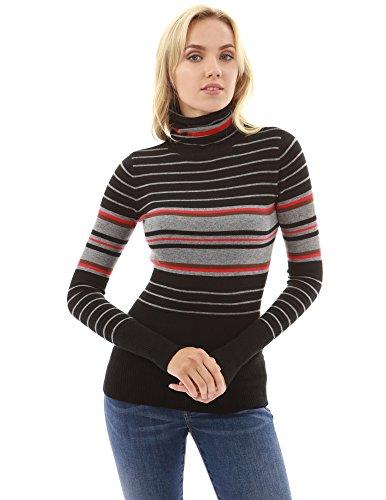 PattyBoutik Damen Turtleneck gestreifter Pullover (Schwarz und grau 40/M) (Schwarz Gestreifter Grau Pullover Und)