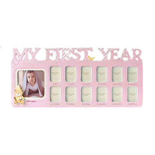 ZOOMY Handmade DIY Baby 12 Monate Wachstumsrekord Gedenken Kinder Wachsende Speicher Geschenk Display Photo Frame - Pink -