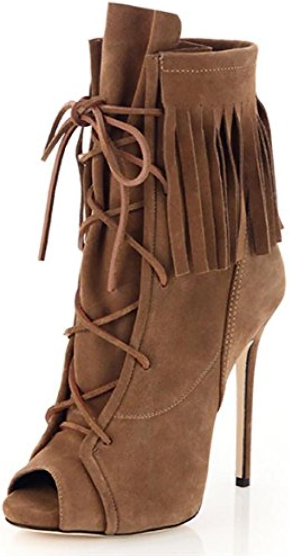 Stilettos de gamuza mujer pescan boca flecos cinturón Botas hechas a mano , 42