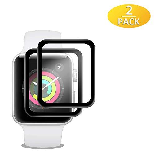 EAWEN 2 Stück Panzerglas für Apple Watch Serie 3 42mm,3D Full Cover Serie 3 42mm Schutzfolie,Ultra-klar/Anti-Kratzer/Anti-Bläschen, 3D Touch Displayschutzfolie für Apple Watch Serie 3/2/1 42mm