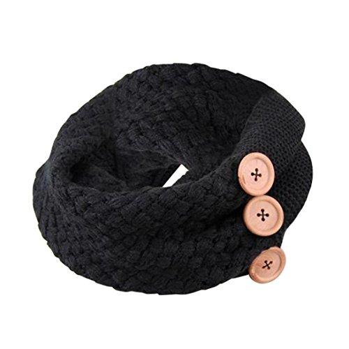 Saingace® Schal,Winter warm Zwei Kreis Zopfmuster Haube-Ansatz-Schal Scarf Scarves (Schwarz) (Schwarz Ansatz Handschuh)