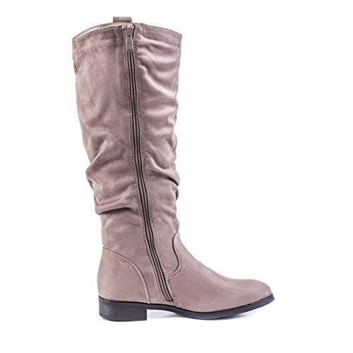 Trendige Damen Boots Hochschaft Stiefel Schuhe in hochwertiger Lederoptik Khaki