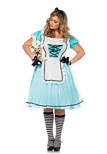 2 teilig Set Tea Time Alice, Damen Karneval Kostüm Fasching, 3X-4X, blau/weiß (3x Kostüm)
