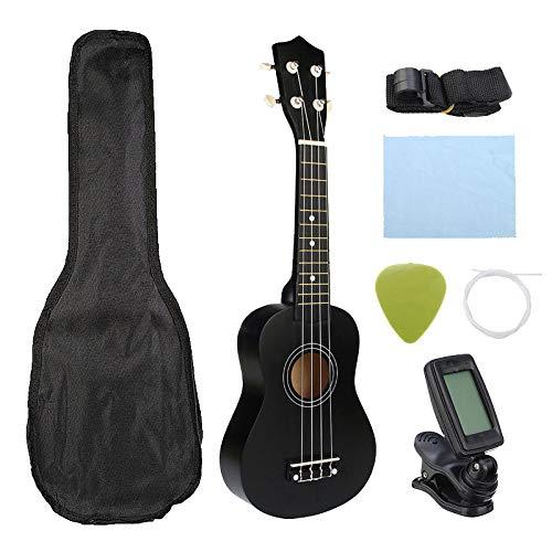 Tamkyo Ukulele Combo 21 Ukulele Soprano 4 Corde Uke Hawaii Bass Set di Strumenti Musicali A Corda Kit Tuner String Strap Bag (Nero)