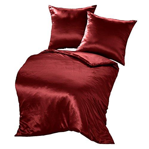 THXSILK Seide Bettwäsche-Sets 3 teilig Bettbezug 240 x 220 cm mit 2 Kissenbezüge 80 x 80 cm, 100% 19 Momme Bestnote Maulbeerseide Bettwäsche,rot (Maulbeere-seide-stoff)