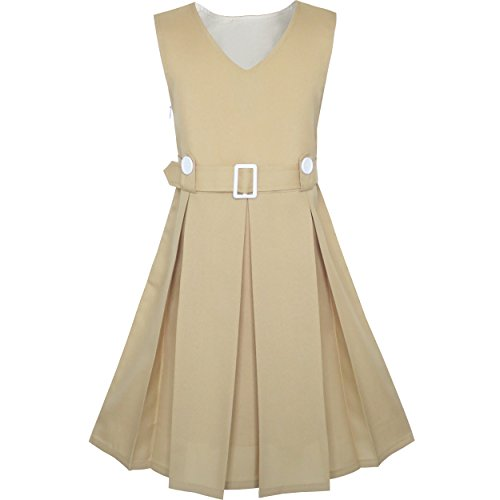 Sunny Fashion KS93 Vestido para Niña Caqui Botón Atrás Colegio Uniforme Plisado Dobladillo 8 Años