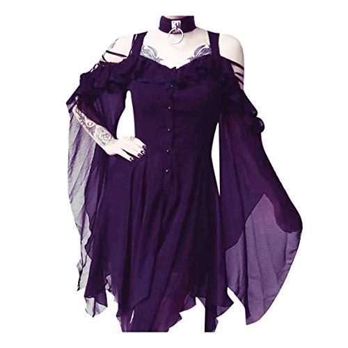 Gothic Kleid Damen Steampunk Kleid Chiffon Kleid Sommerkleid Schulterfrei Lange Ärmel Unregelmäßig Mittelalter Kleidung Viktorianisch Kostüm Magic Mistress Hexenkostüm Teufelchen Halloween (Viktorianischen Motto Kostüm)