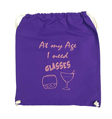 Comedy Bags - At my Age I need GLASSES - Turnbeutel - 37x46cm - Farbe: Schwarz / Silber Lila / Rosa