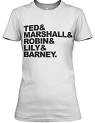 StyloTex Damen / Girlie T-Shirt Ted, Marshall, Robin, Lily & Barney