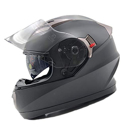 Nat hut casco integrale moto ece omologato | caschi integrali con spazio per bluetooth | doppia visiera parasole (l, nero)