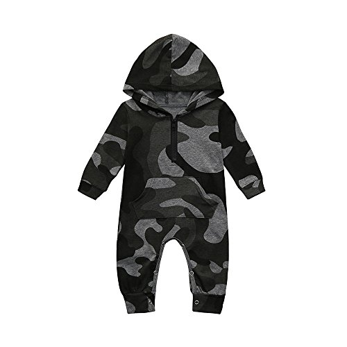 MEIbax Infant Baby Camouflage Print Hooded Strampler Jumpsuits Jungen Mädchen Spielanzug Overall...