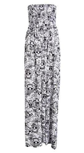 Nouveaux Femmes Grande Taille Long Summer Bandeau bretelles Rassemblement Plage Maxi 36-54 Skull Print