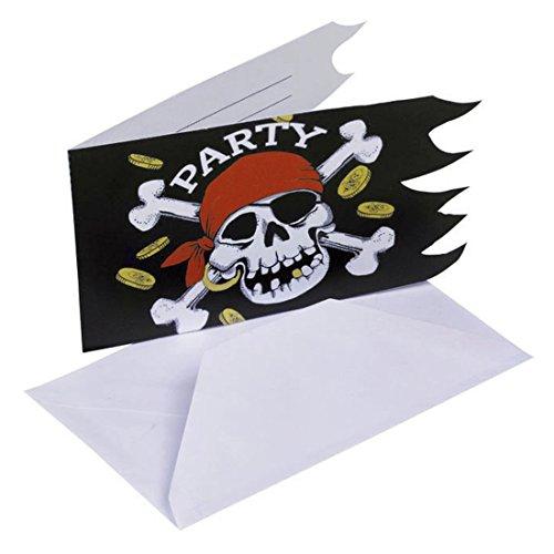 Piraten Einladungskarten Party Einladungen 6 Stk. Karten Einladung Jolly Roger Piratenparty Einladungsset Partyeinladungen Kindergeburtstag Dekoration Accessoires Partydekoration Geburtstag (Piraten Karte)