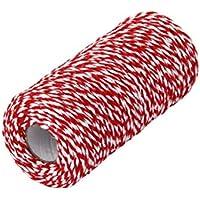 Artibetter Los panaderos Rojos y Blancos trenzan una Cuerda de algodón para Manualidades y envoltorios de Regalo de 200 m.