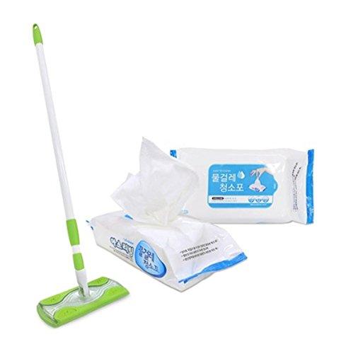 Livens Boden Staubwischer Kopf mit Einweg-60 Packs Refill Ziehen Sie Schmutz, Staub, Haare und Tierhaare oder Feuchtigkeit für eine tiefere Sauberkeit (Refill Count 60)