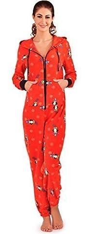 Loungeable Femmes Cute Ski Manchot Taille Unique Tout En Un Micro-molleton Doux Pyjama - Pingouin, X Small 36