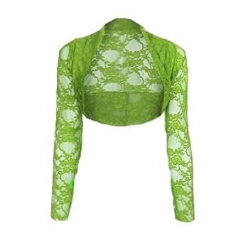 Womens Cropped Lace Shrug Ladies Bolero Apple Green Size L/X