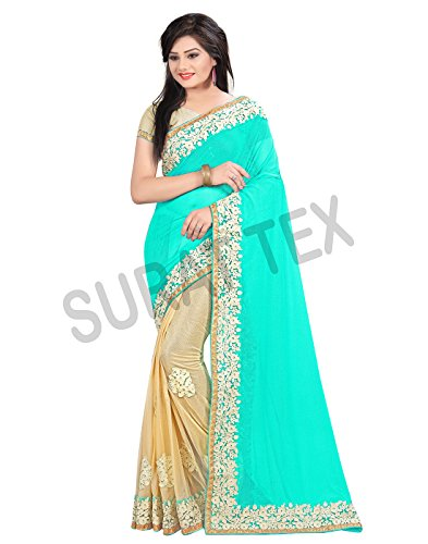 Surat Tex Turquoise Color Lycra & Net Embroidered Party Wear Saree with Blouse Piece-J859SEST-01