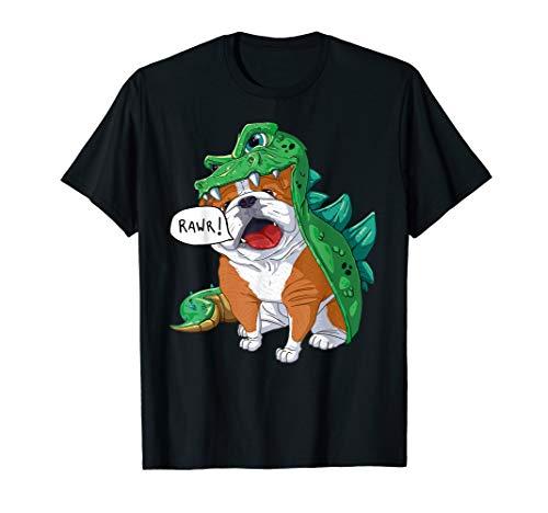 Frauen Kostüm Drache - Englische Bulldogge Dinosaurier Drachen Kostüm Halloween T-Shirt
