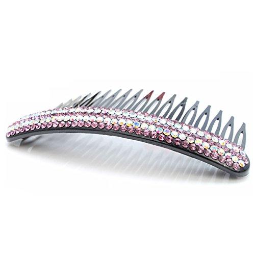 Tinksky Incrusté de strass étincelants Clip en épingle à Cheveux Cheveux Peigne en Plastique (Violet + Coloré)
