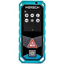 HERSCH Télémètre Laser LEM 100 (Portée 0,05-100m, Bluetooth+application, Affichage couleur pivotant avec écran tactile, Mesure 3D, inclinomètre, Ni-MH batterie, Robuste protection IP65) 841925