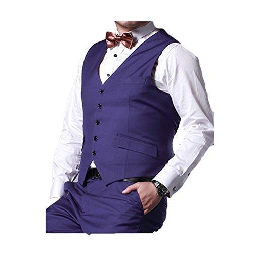 Zhhlaixing Moda Men Gentleman Suit Vest 4 Button Business Casual Plus Size Waistcoat /Size XXL-6XL blue