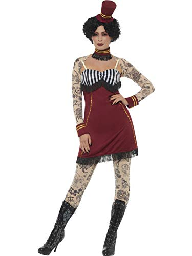 Kostüm Tattoo Ganzkörper - costumebakery - Damen Frauen Kostüm tätowierte Zirkus Dompteurin mit Kleid Leggings,Collar Hut und Ärmel, Horror Tattoo Lady, perfekt für Halloween Karneval und Fasching, L, Rot