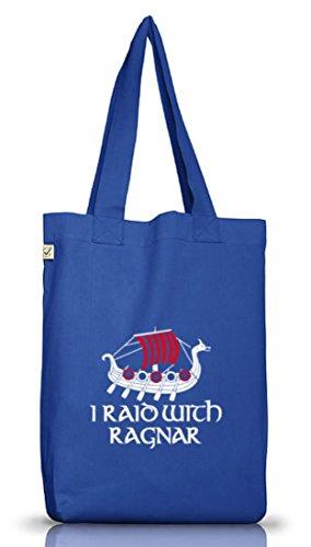 Shirtstreet24, I RAID WITH RAGNAR, Vikings Jutebeutel Stoff Tasche Earth Positive (ONE SIZE) Bright Blue
