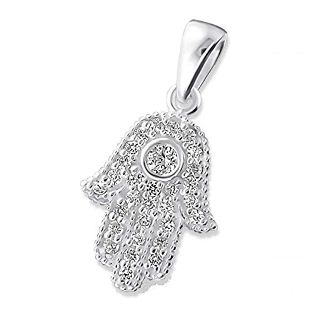 *925 Silber Anhänger Hamsa Fatimas Hand türkisches Amulett Zirkonia Kettenanhänger*