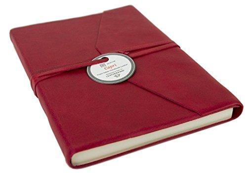 Amalfi Rot Handgemachtes Italienisches Notizbuch aus Leder Größe A5 (15cm x 21cm)
