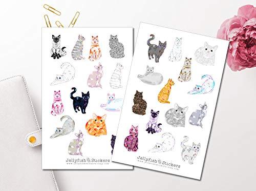 Bunte Katzen Sticker Set | Süße Aufkleber | Journal Sticker | Haustiere Sticker | Planersticker -
